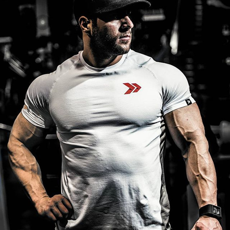 New Cotton   T     Shirt   Men Breathable   T  -  Shirt   Homme Gyms   Shirt   Men Fitness Summer Printing Gyms Tight Tops