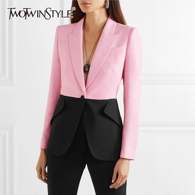 Deuxtwinstyle Hit couleur Patchwork Blazer pour femmes col cranté manches longues élégant manteaux femme 2019 mode été nouveau