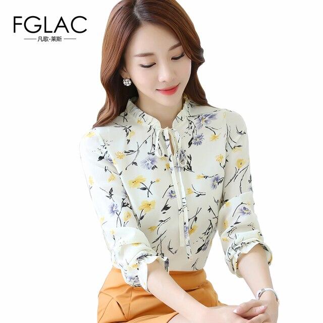 5ffe6707a Fglac mujeres gasa blusa elegante manga larga mujeres blusa moda casual  Camisa de gasa de impresión