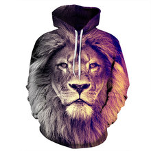 Mr.1991INC New Fashion Animal Style Sweatshirts Men/Women Pullovers Print Lion Hoodies Hooded Tracksuits Autumn Thin Tops