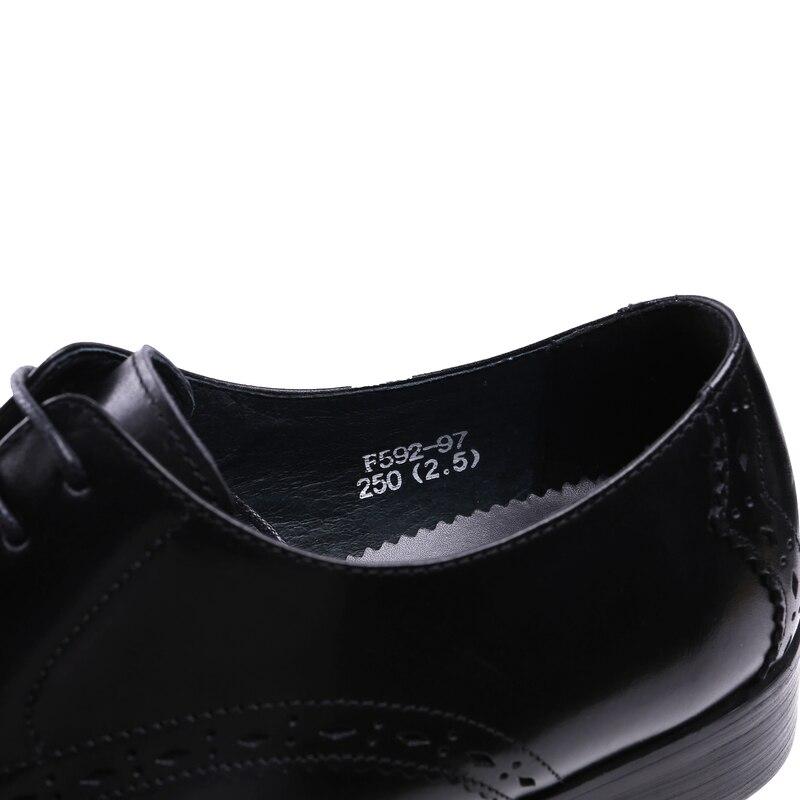 Männer der Derby Schuhe Aus Echtem Leder Rindsleder Leder Schwein Inneren Runde Kappe Brogue Stil Kleid Hochzeit Business Schuhe 2019 Neue spitze up - 5