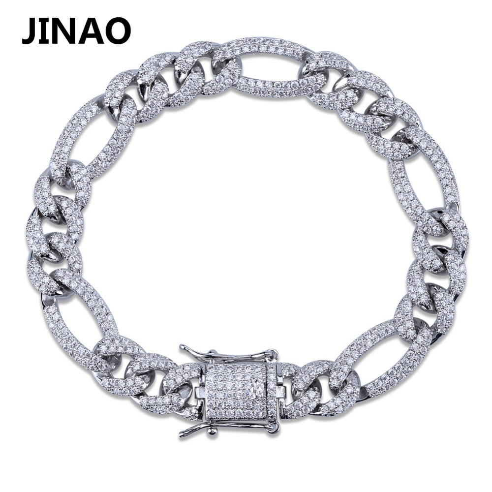 Image 4 - 10mm Personality  Iced Out Miami Curb Men Bracelets Gold Silver Color Hip Hop Jewelry Cuban Chians Crystal CZ Rapper Punk Gifts-in Chain & Link Bracelets from Jewelry & Accessories