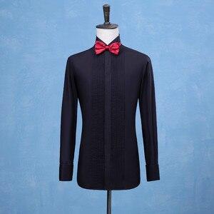Image 4 - 새로운 패션 신랑 턱시도 셔츠 최고의 남자 Groomsmen 화이트 블랙 또는 레드 남자 웨딩 셔츠 공식 행사 남자 셔츠
