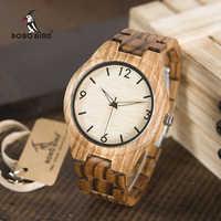 ボボ鳥メンズ腕時計トップブランドの高級シマウマ木製は、完全な本物の木バンドクォーツ時計木製ギフトボックス