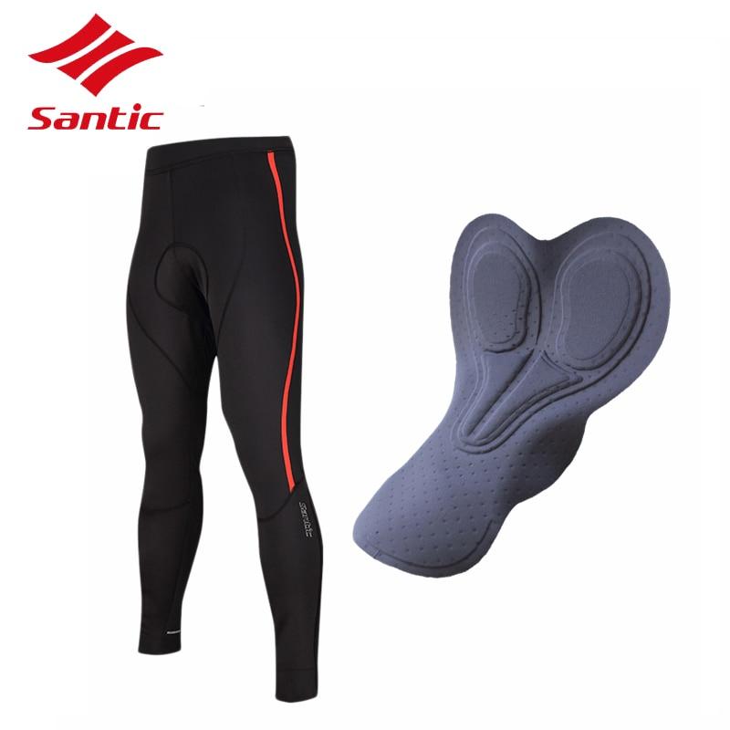 Santic Велоспорт брюки мужчины Ветрозащитный флис длинные брюки брюки велосипед MTB Горный Дорожный велосипед езда брюки pantalon брюки 2018