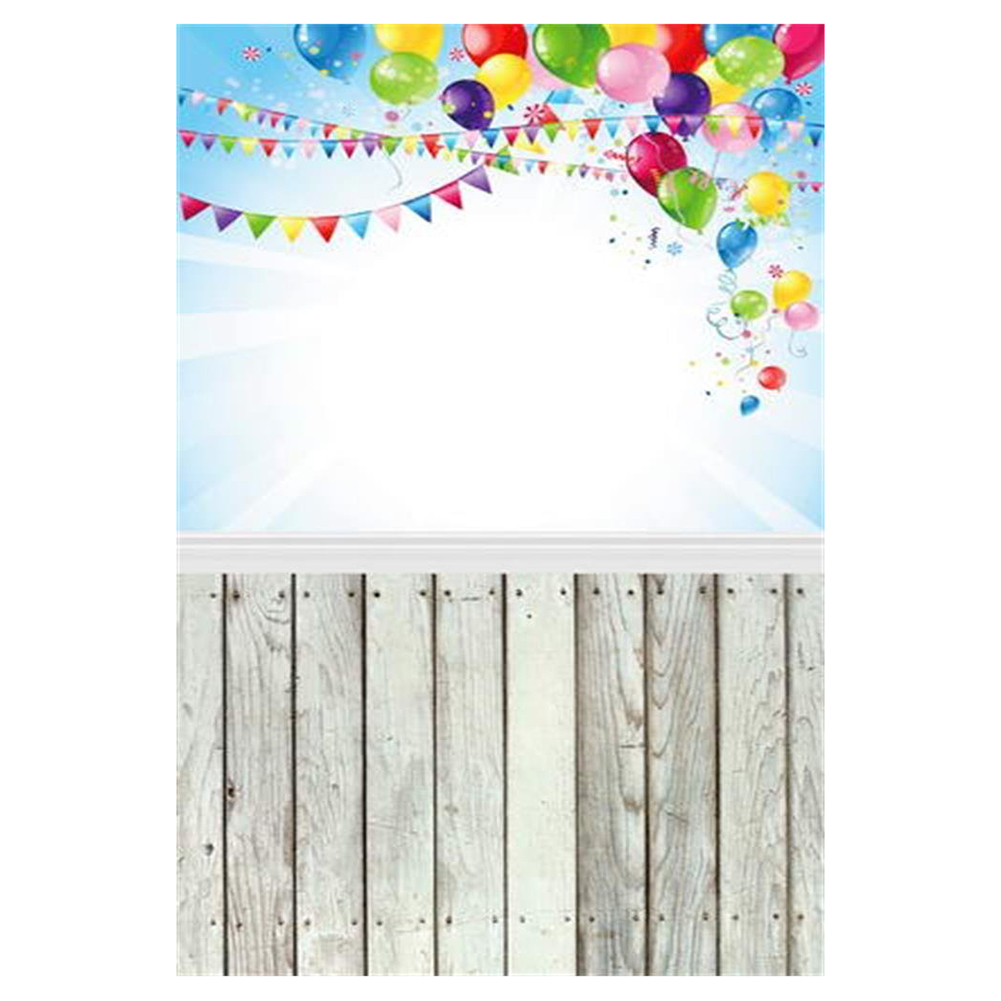 Top Deals 3x5ft Vinyl Thin Backdrop Photography Background Wooden Floor Theme Balloon Photos Scene Backdrop,1(W)x1.5(H)m for P