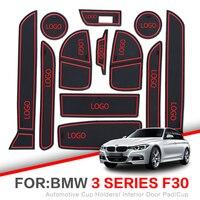 Pad ranhura portão Para BMW Série 1 F20 F30 2012-2018 BMW Série 3 F30 F31 116 118 Interior suportes para Copos Não-slip mats Pad porta Do Carro