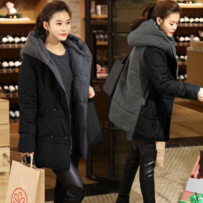 Winter pregnant women thick coat plus autumn fat long section winter Korean version of 200 pounds pregnant women thick coat south korean female lovely long section of camouflage coat loose hooded feather padded knee thickening students winter coat