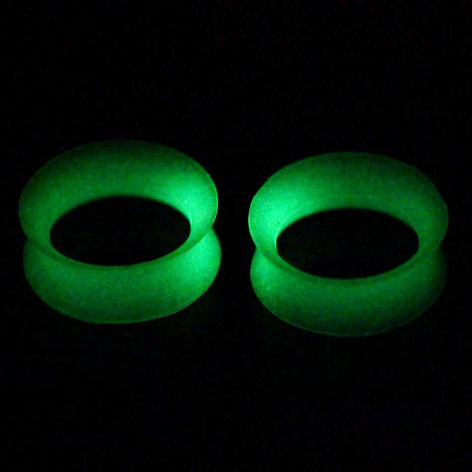 2 cái/lốc Silicone Linh Hoạt Phát Sáng trong Bóng Tối Tai Tunnels Cắm Piercings Hollow Ear Thịt Đồng Hồ Đo Khoan Lổ Đun Expander Piercings Đồ Trang Sức