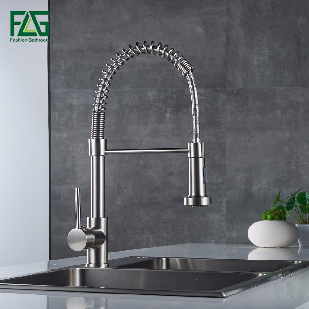 FLG Pull Out Kitchen Faucet Nickel Brushed Cold and Hot Water Faucet Rotate Swivel Sink Kitchen