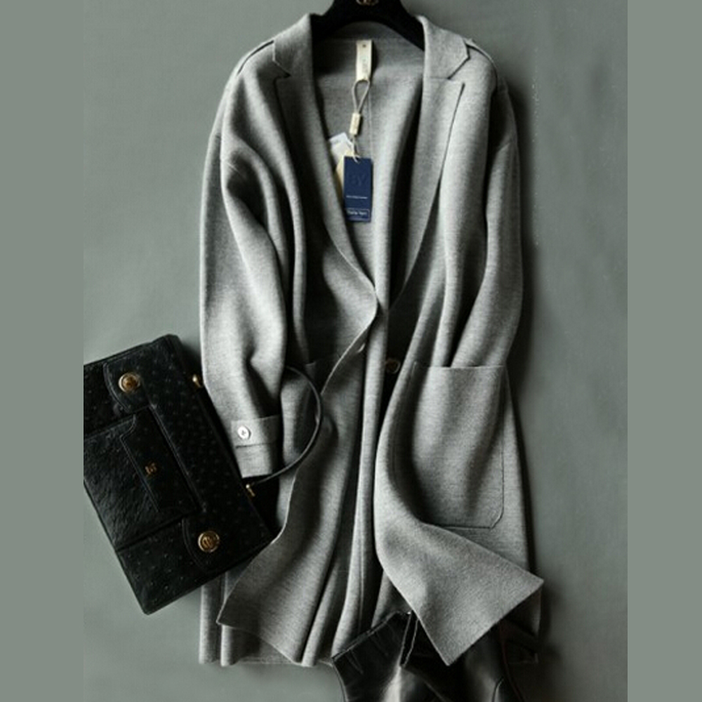2019 New Arrival 100% Pure Wool Real Cashmere Blend Coat Long Sweater TFP730-in Cardigans from Women's Clothing    1