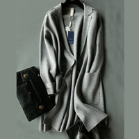 2019 New Arrival 100% Pure Wool Real Cashmere Blend Coat Long Sweater TFP730