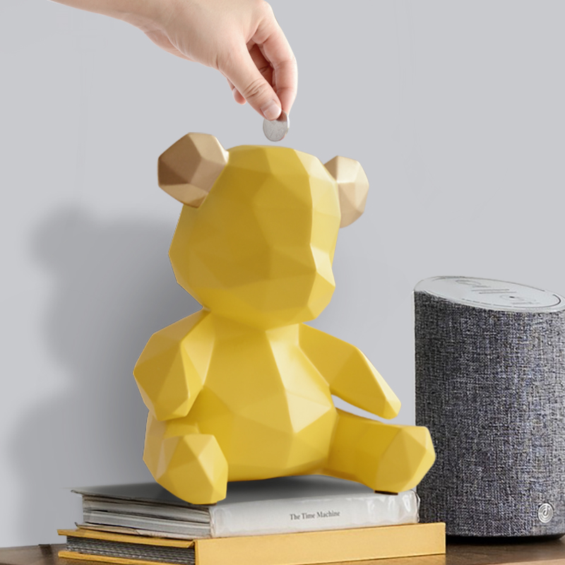 Bear Money Banks Statue Geometry Animal Piggy Bank Art Sculpture Resin Craftwork Living Room Decor L2987Bear Money Banks Statue Geometry Animal Piggy Bank Art Sculpture Resin Craftwork Living Room Decor L2987