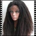 180 Densidad Stock Pelo Virginal Eurasiático Afro Rizada Rizada de Color Completo del cordón Del Pelo Humano Pelucas Delanteras Del Cordón Para Las Mujeres Negras Nudos del Blanqueo