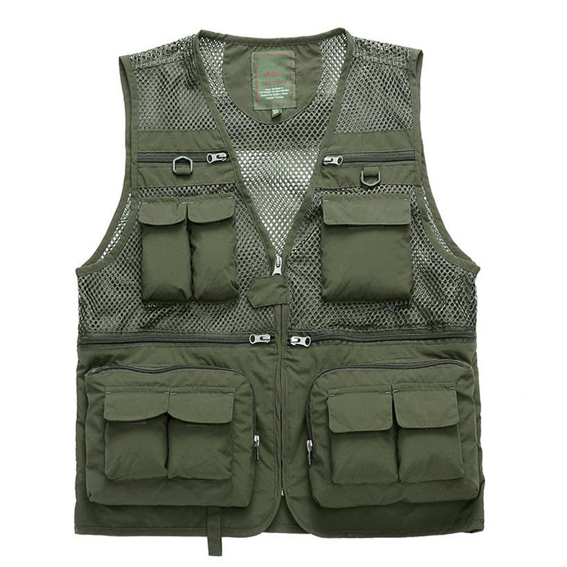 Outdoor beathable men strong High quality fishing vest Multi-pockets professional sports climbing photography working wear vest zuoxiangru hiking tactical vest fishing vest men s m 6xl multi pockets photography jacket camping multi pockets hunting vest