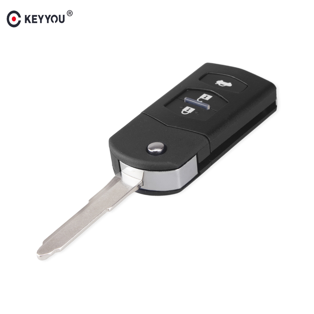 KEYYOU 3 Buttons Car Remote Key Shell Case For MAZDA 2 3 5 6 RX8 MX5 Filp Folding Replacement Auto Car Keys Shell image