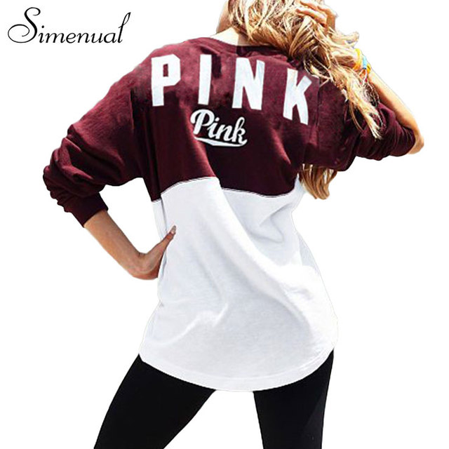 Casual novo 2016 rosa carta outono camisola roupas femininas patchwork magro loose women camisolas hoodies do pulôver svitshot