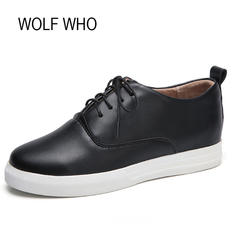 WOLF WHO Female White Sneakers Women Oxford Shoes Wedge Platform Hidden Heel Fashion Casual Ladies Krasovki H-168 nayiduyun women genuine leather wedge high heel pumps platform creepers round toe slip on casual shoes boots wedge sneakers
