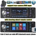 Chegada nova 1 din 4.1 polegada FM Estéreo de Rádio Do Carro 12 V Do Bluetooth TF MP3 Player AUX entrada DVR USB com controle remoto no volante
