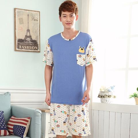 Serviço de Casa Ocasional dos Homens Calções de Manga Conjuntos de Pijama Homens Verão Novo Modal Pijama Seção Fina xl 2020 Curta Terno