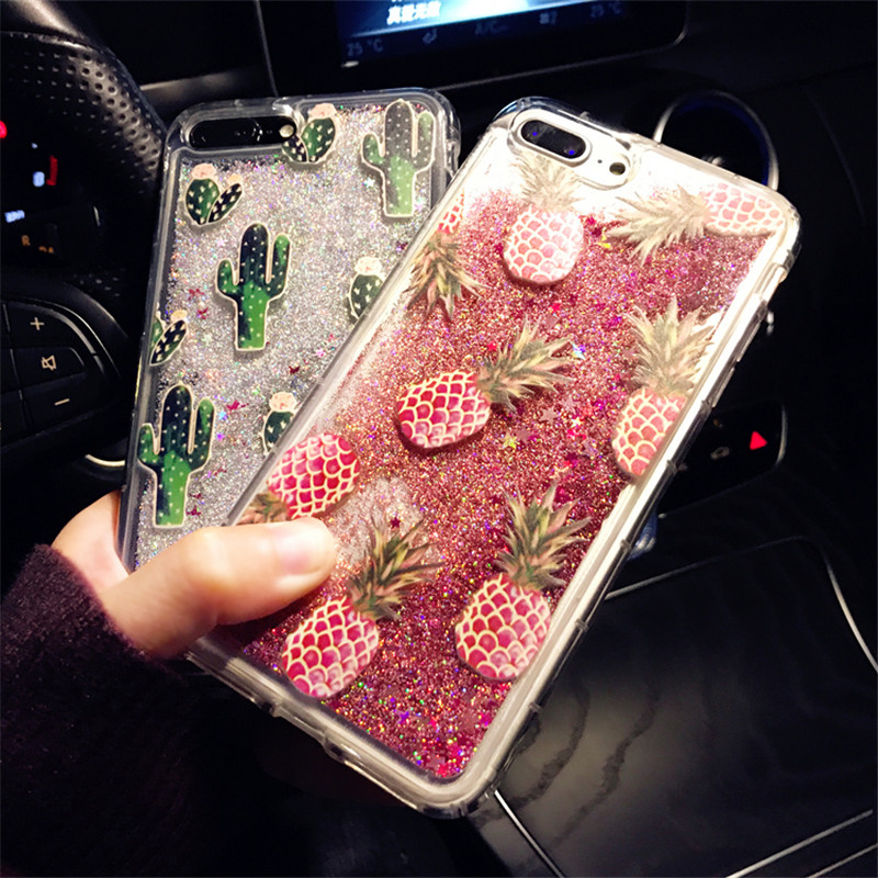 Bling Glitter Dynamic cactus pineapple Liquid Quicksand Phone Back For iPhone 6 6 S XS Max XR