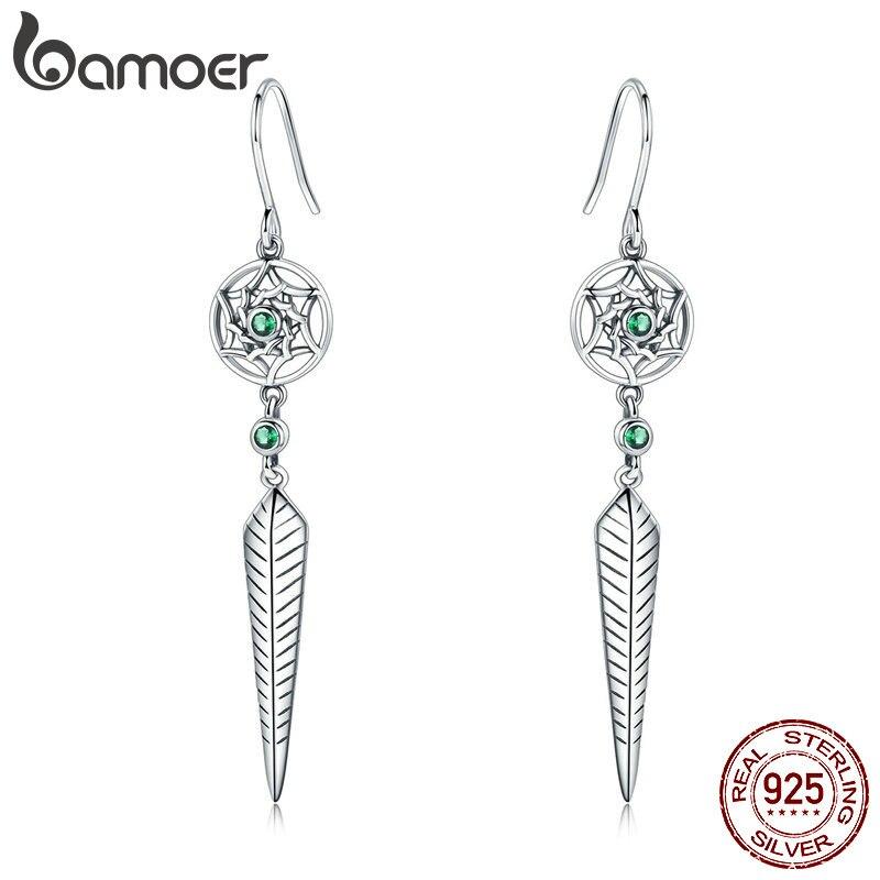 BAMOER Trendy 100% 925 Sterling Silver Dream Catcher & Vintage Arrow Dangle Earrings For Women Luxury Silver Jewelry SCE576