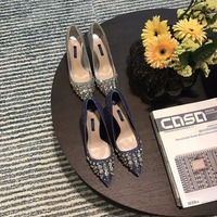 Brand Silver Diamond Summer Shoes Pointed Toe Pumps blue silver Multi Glitter Sexy High Heel Shoes Sexy Party Wedding Women Shoe