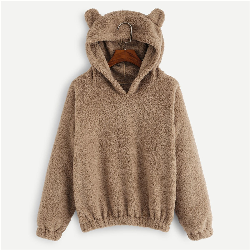 Camel Solid Teddy hoodie For Women