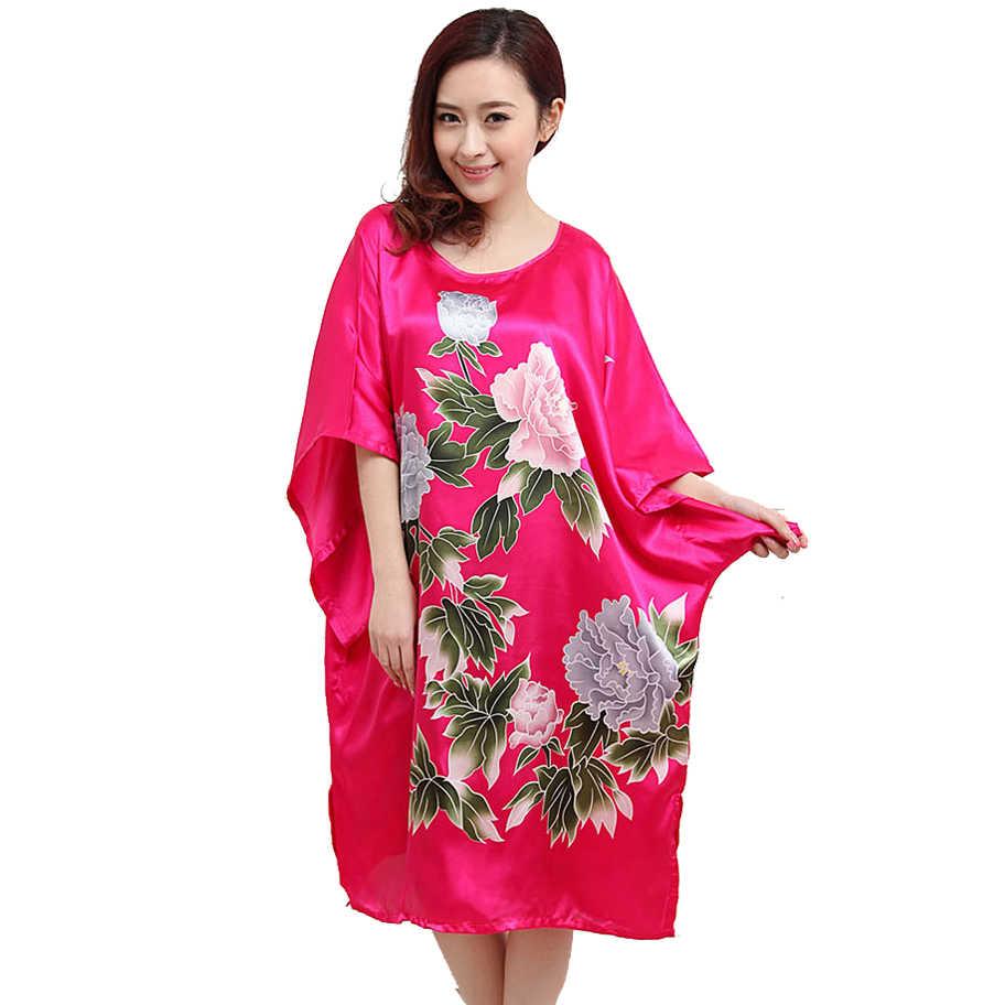 eddb93bbdbf1c Hot Sale Rose Red Satin Robe Dress Nightgown Novelty Women's Kaftan Bath  Gown Summer Lounge Homewear 030802