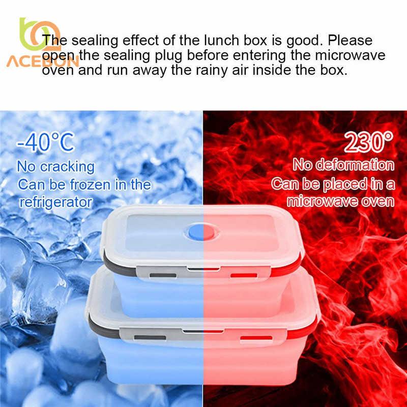 Силиконовая складная коробка Bento складная переносная коробка для ланча для еды столовая посуда контейнер для продуктов миска для детей взрослых от ACEBON