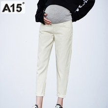 2019 Autumn Belly Long White Denim Pants Trousers Pregnancy Pants for Pregnant Women Jeans Plus Size Maternity Clothing M XL 3XL(China)