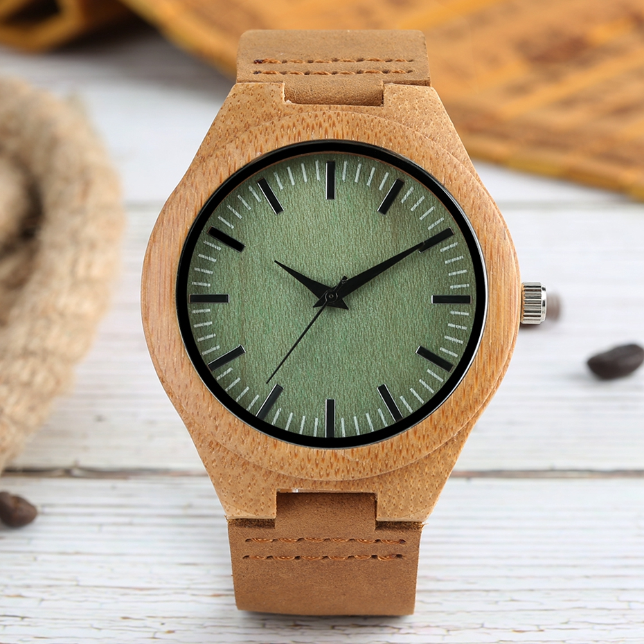 Men Wooden Watches Retro Ebony Wood Case Green Dial Handmade Engraved Scale Casual Military Sports Clock Man Quartz Wrist Watch 2020 2019 2018 (5)