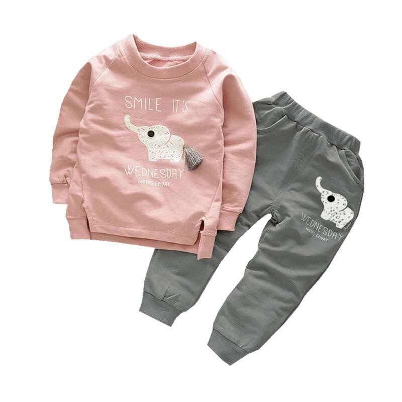 New Spring Autumn Children Boys Girls Clothes Suit Cartoon Elephant Cotton Clothing Sets Tassel T-Shirt+Pants 2pcs Clothes Suit цена