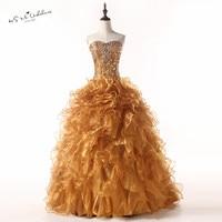 Puffy Gold Quinceanera Dresses Vestido de Quince Anos 2018 Cheap Quinceanera Gowns Crystals Organza Ruffles Vestido de 15 Anos