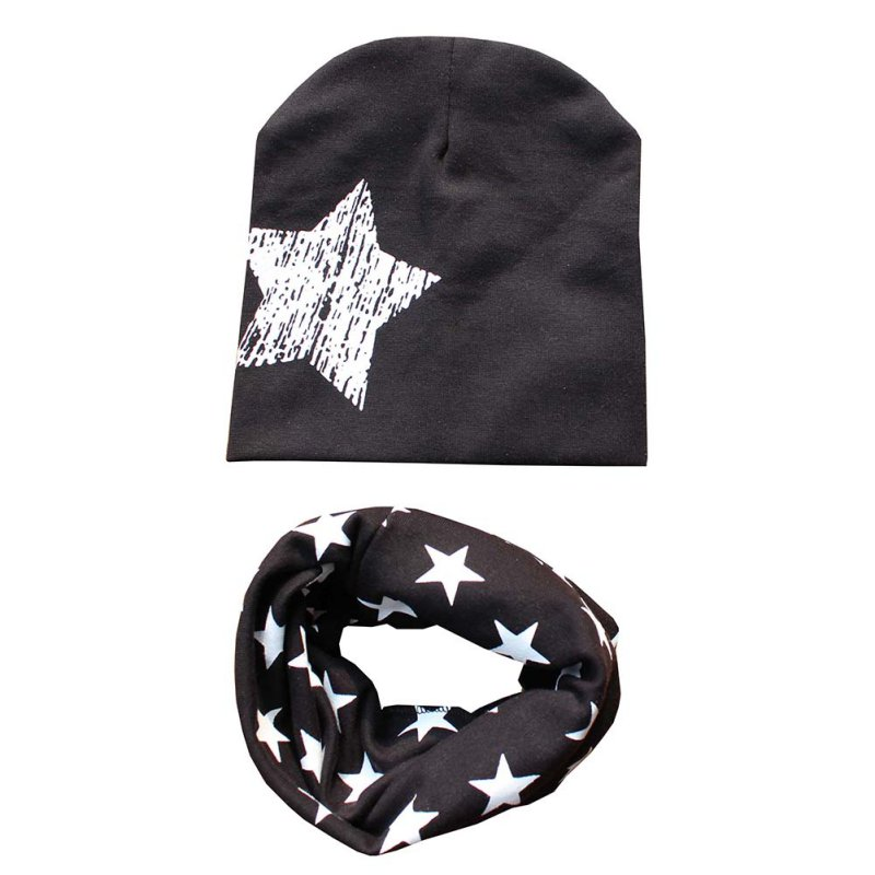 Spring Autumn Winter Hat + Scarf Toddler Kids Clothing Accessories Star Print Soft Cotton Hats Scarves Sets