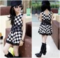 2016 Summer Girls Dress Black and White Plaid Lace Splice Vest Girl' Dresses 3-16 Years Kids Clothing Fashion Clothes For Baby