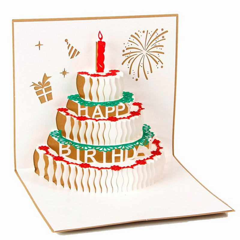 3D Paper Laser Cut Handmade Adult Children Kids Birthday Party PostCard Greeting  Cards School Invitation Card