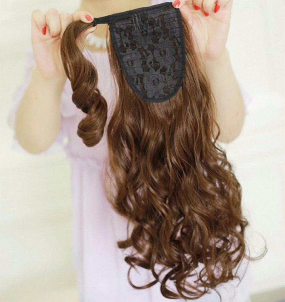 Wondrous Wrap Around Wet And Wavy Human Hair Ponytail Hairpiece Clip In Short Hairstyles Gunalazisus