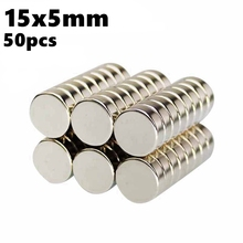 Powerful Magnetic Round Neodymium Magnet Disc 15mm x 5mm NdFeB 50pcs 15*5 N35 Rare Earth Iman Strong Magnets Sheets