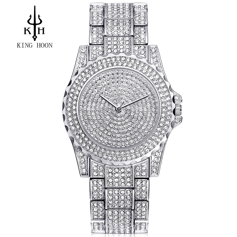 KING HOON Silver Women Watches Luxury High Quality Water Resistant Montre Femme Stainless Steel 2016 Dress Woman Wrist Watches weiqin black clock women watches luxury brand high quality montre femme stainless steel 2017 dress woman wrist quartz watches