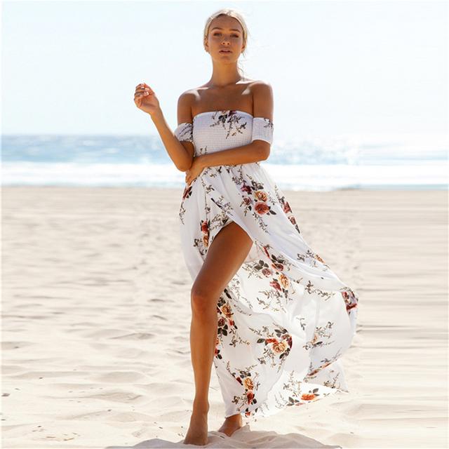Boho style long dress women Off shoulder