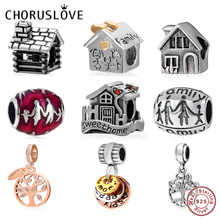 Choruslove Happy Family Charm Tree Bead 925 Sterling Silver House Beads fit Original Pandora Charms Bracelet DIY Women Jewelry