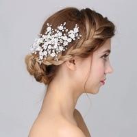 Cristales de moda Planta Floral Hojas Pelo de la boda accesorios nupciales del pelo Peine Piezas de La Cabeza de Pelo de La Joyería Accesorios
