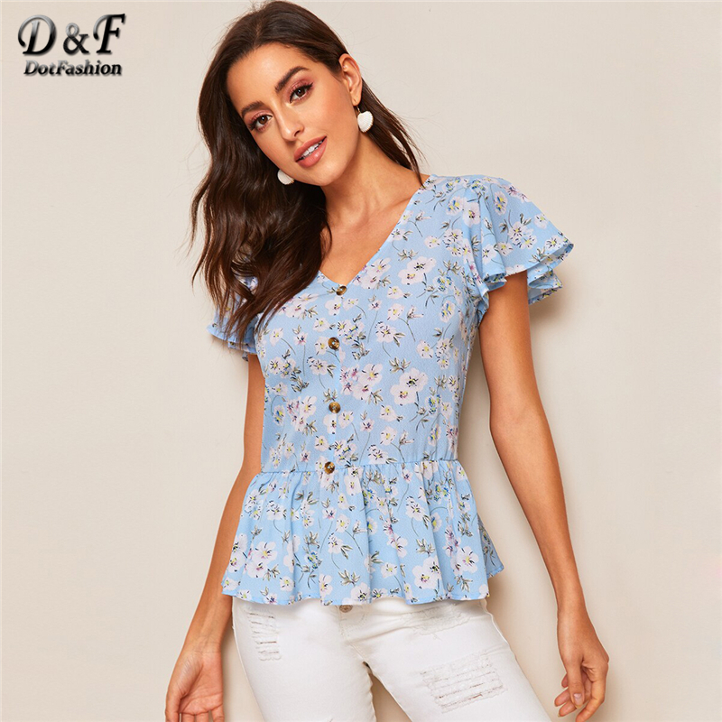 Dotfashion Button Up Ruffle Hem Ditsy Floral   Blouse     Shirt   For Women Boho Top 2019 Short Sleeve Ladies Peplum Tops Summer   Blouses