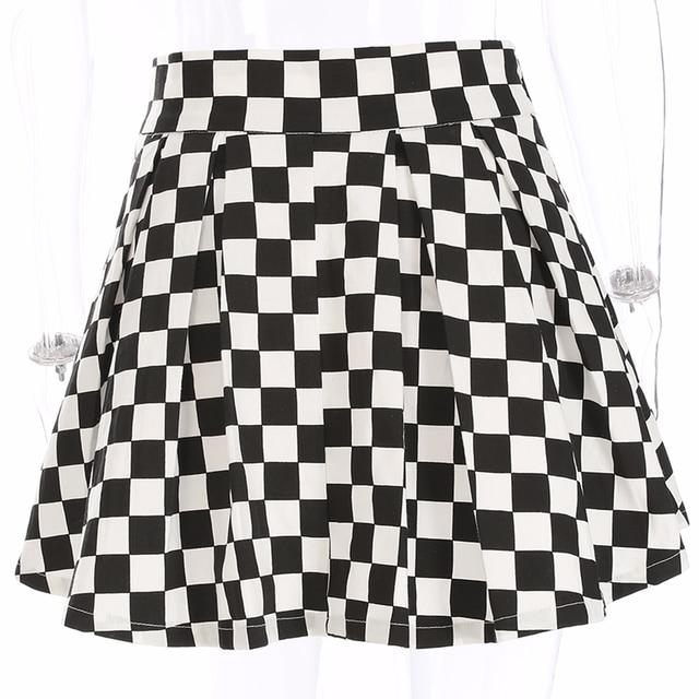 DICLOUD 2019 Pleated Checkerboard Skirts Womens Harajuku High Waisted Skirt Casual Dancing Korean Sweat Short Summer Mini Skirts 5