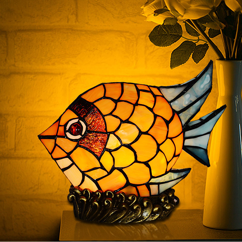 Free Shipping Color Fish LED Table Lamp European Style Glass Desk Lamp Modern Fashion Simple Living Room Bedroom Bedside Lamp tuda 29x60cm 3w led table lamp european style iron desk lamp modern fashion simple living room study bedroom bedside lamp