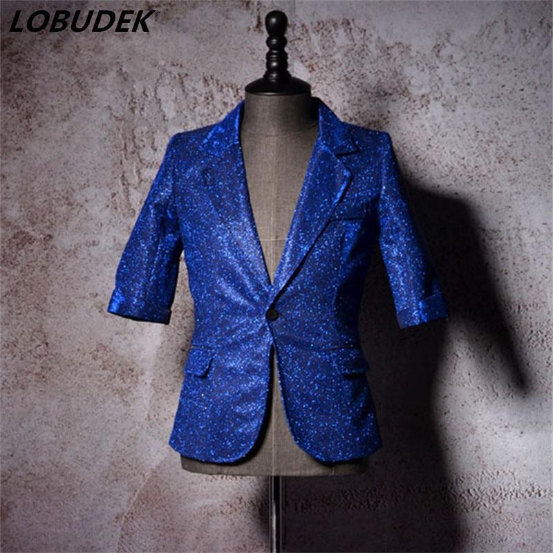 male slim tide vest shorts pans suit costumes stage bar 2 pieces set half sleeves jacket pants singer dancer show nightclub