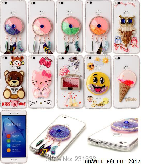 Liquid Quicksand Diamond Glitter Acrylic Soft TPU Case For Huawei P8 LITE 2017 P10 Oppo R9S Vivo X9 Cartoon Hello Kitty Skin 1pc