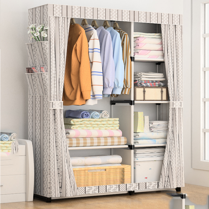 Simple Wardrobe Cloth Wardrobe Hanging Cloth Fabric Assembly Frame Storage Cabinet Bedroom FurnitureSimple Wardrobe Cloth Wardrobe Hanging Cloth Fabric Assembly Frame Storage Cabinet Bedroom Furniture