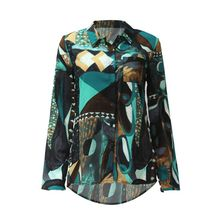 Womens Plus Size Asymmetric Chiffon Blouse Button Down Colored Abstract Geometric Printed Shirt Long Sleeves V-Neck Loose Tops W womens plus size roll up long sleeve metallic pineapple printed stand collar blouse button down v neck casual loose tops